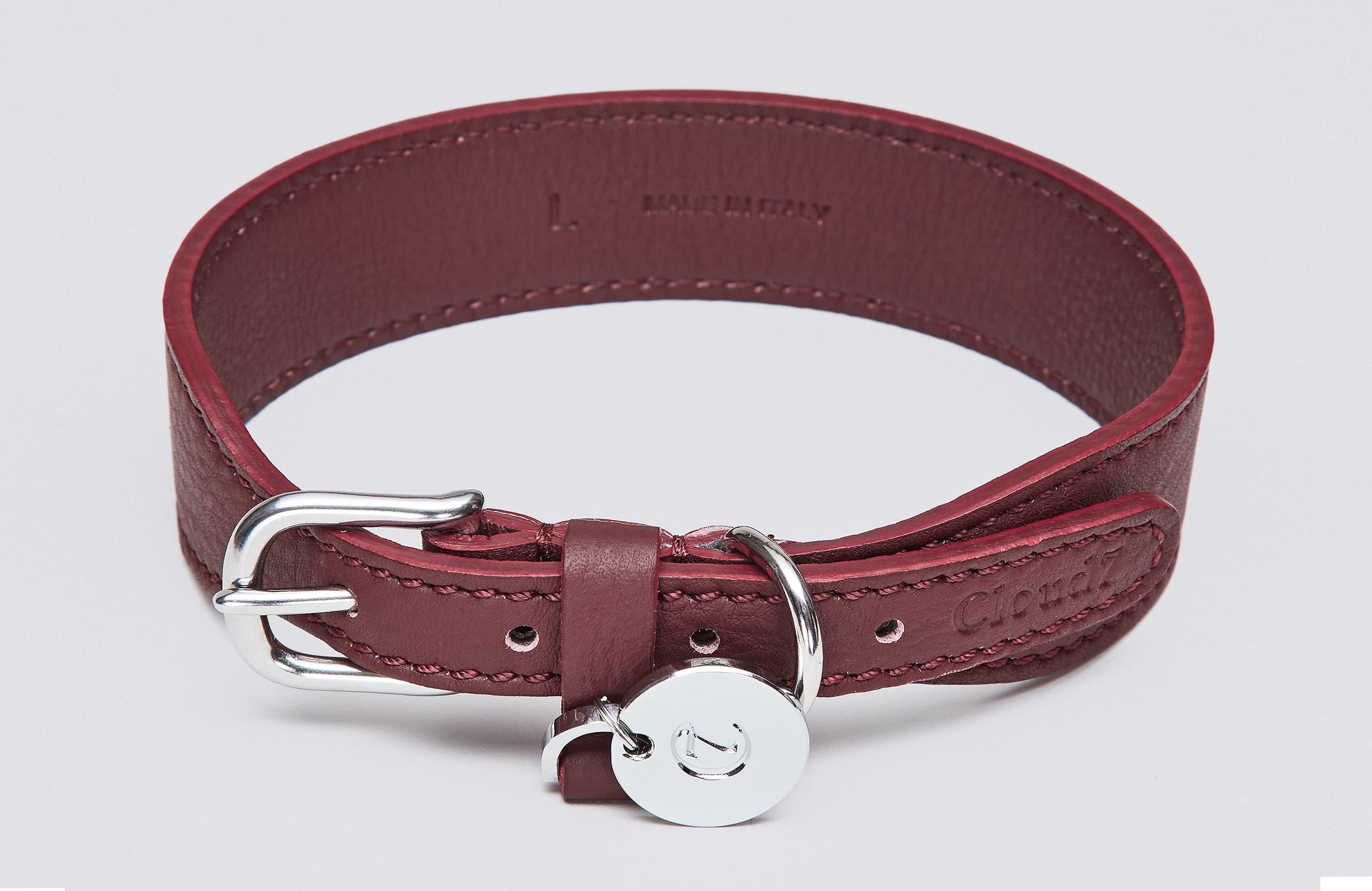 Weinrotes Hundehalsband aus Nappaleder