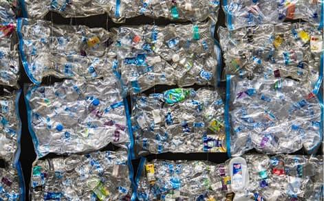 Pile of hundreds of plastic bottles