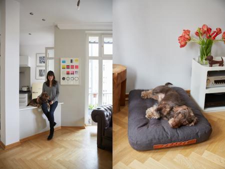 Beatrix & Lenni, Lenni mit Hundebett Dream