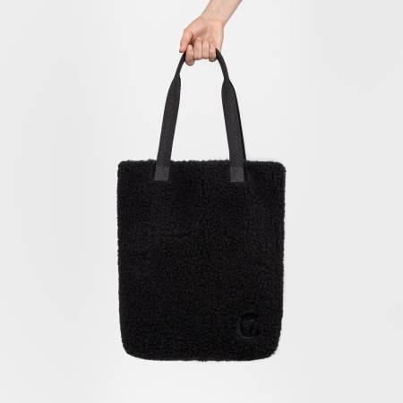 Black tote bag made of black wool