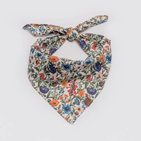 Tied Cloud7 fabric Bandana Cornfield with cornflower pattern