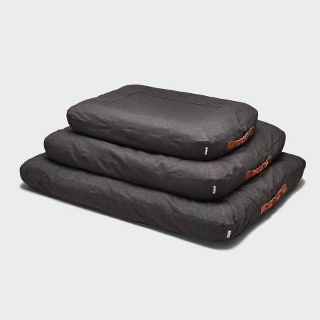 3 dog beds made of brown organic cotton