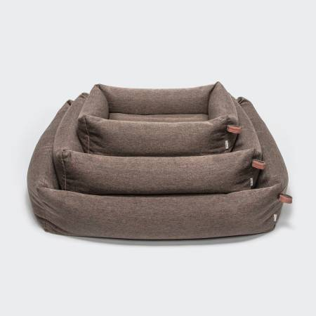 3 soft brown dog beds