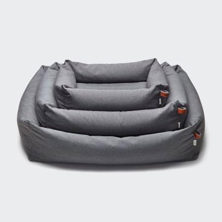3 grey dog beds