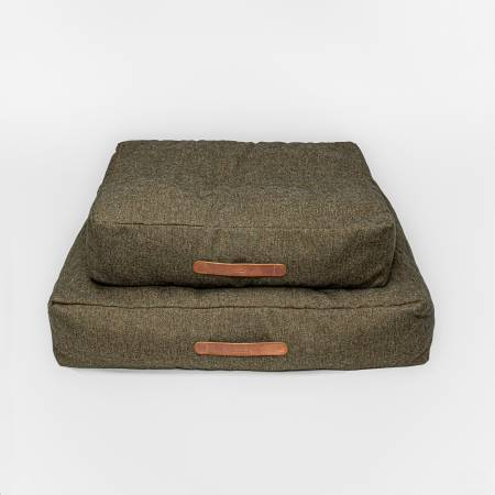 2 soft dog beds in olive