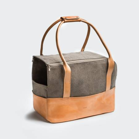 dog carrier made of canvas and leather