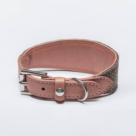 Special padded wide collar for greyhounds made of robust herringbone and pink leather