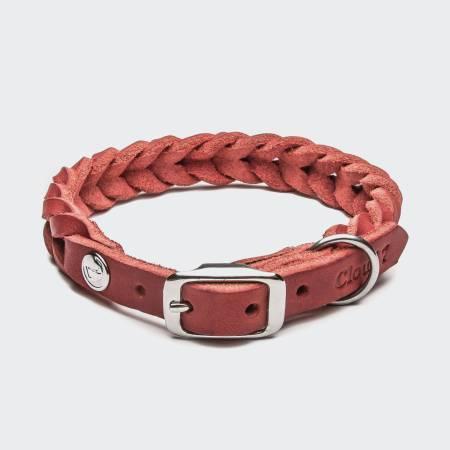 Geschlossenes geflochtenes Lederhalsband aus rotem Leder mit silberner Schnalle