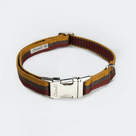 Vegan webbing dog collar with stripes in yellow and burgundy