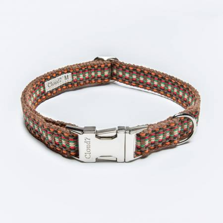 Vegan dog collar warm colours webbing