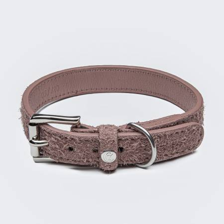Light pink suede leather dog collar