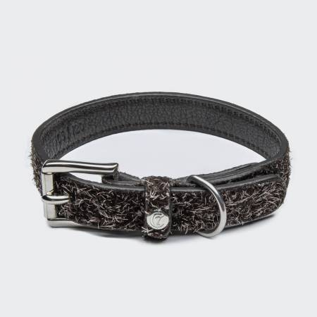 Brown suede leather dog collar