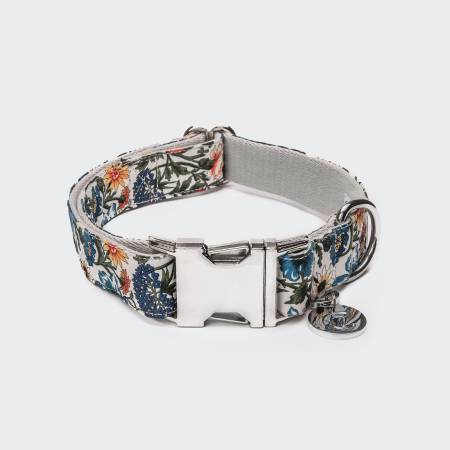 Cotton dog collar with silver buckle and cornflower pattern
