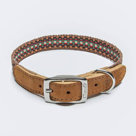 Dog Collar webbing with leather in orange and brown