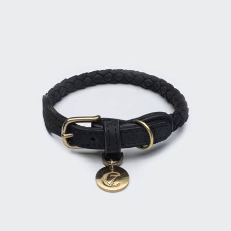 Roundly braided black dog collar
