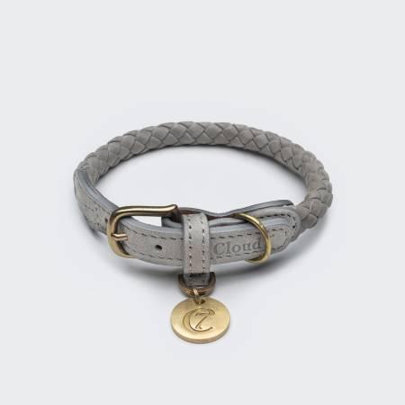 Rund geflochtenes Hundehalsband in grau