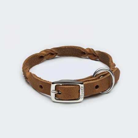 Extra schmales und leichtes Hundehalsband aus Leder mit Flechtdetails