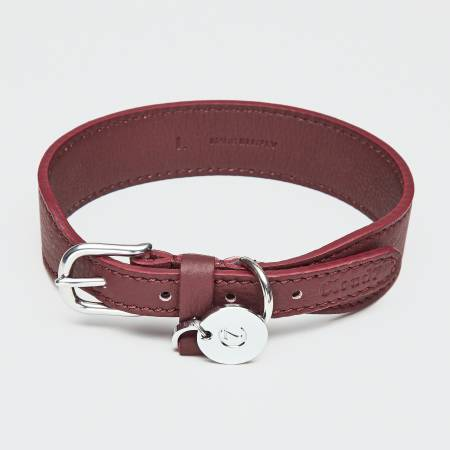 Wide wine-red leather collar with silver closure