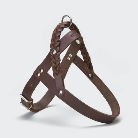 Brown leather dog harness with braided details