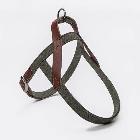 Stylish dog harness in green cotton canvas and dark brown leather