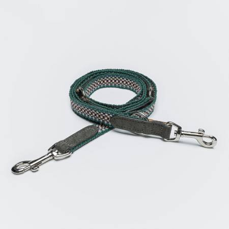 Dog Leash with green fabric and grey suede