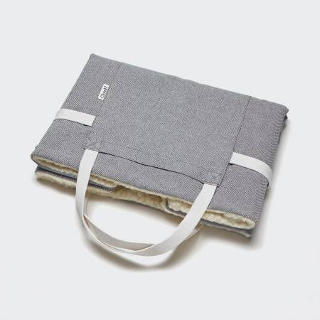 foldable light grey travel bed for dogs