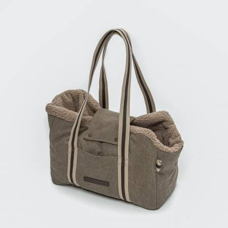Unisex dog carrier with teddy lining