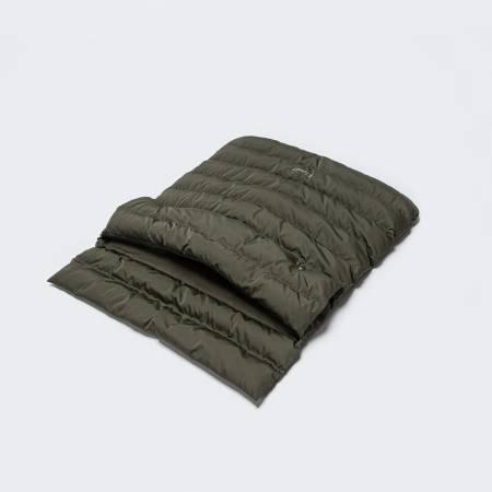 Padded dog sleeping bag in dark green