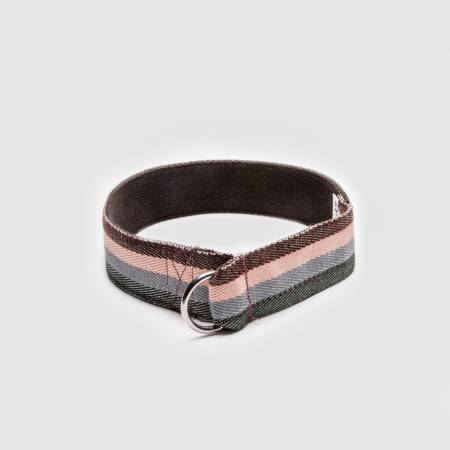 Closed martingale fabric collar with stripes in pink, pink, olive and brown