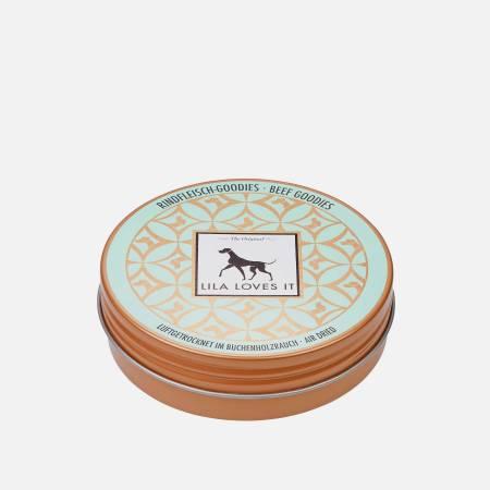 Hübsche blaue Blechdose für Hundeleckerlis
