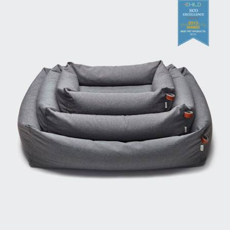 Award-winning grey dog bed for sustainability