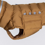 padded dog winter coat with reflective elements and velcro