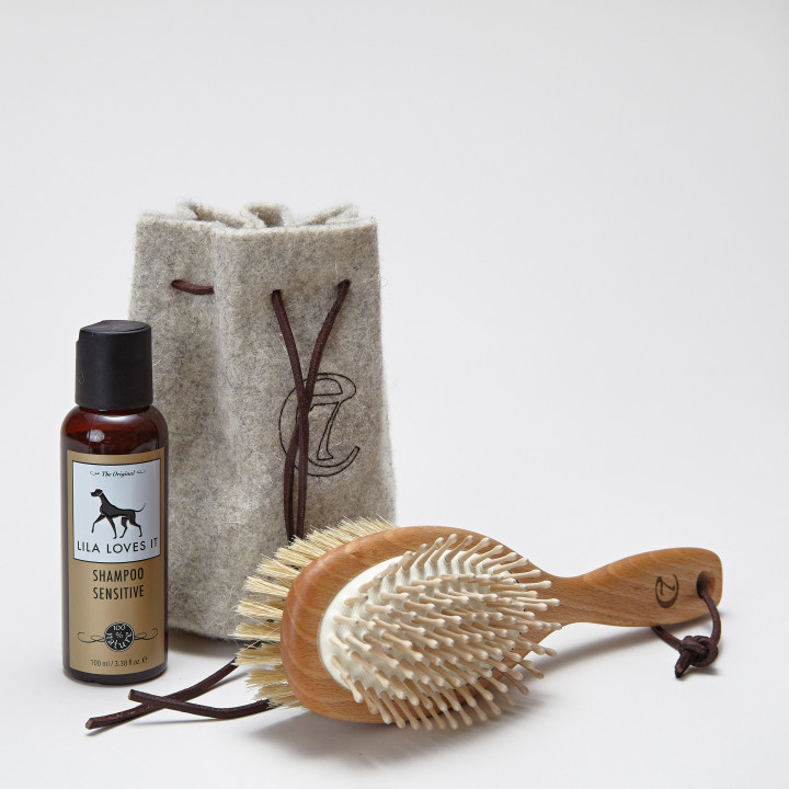 Dog fur brush, dog shampoo und felt bag elegantly arranged