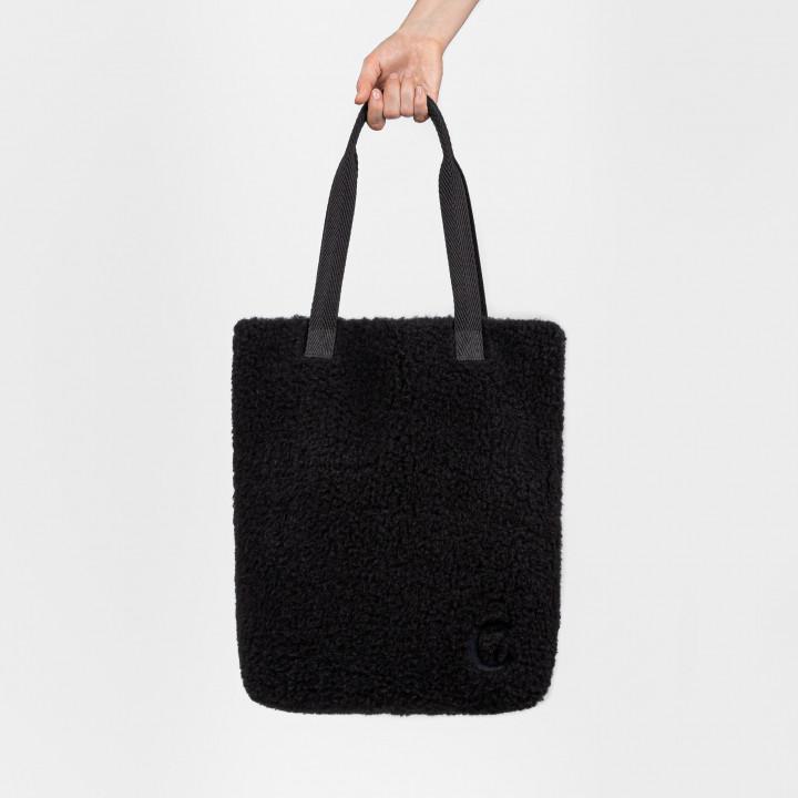 Schwarze Shopper Handtasche aus Wolle