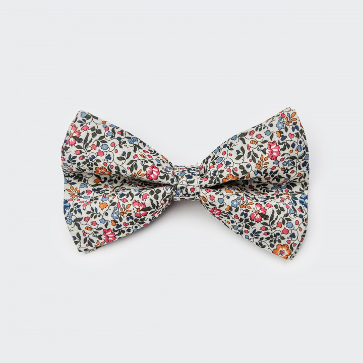 Bow tie for dogs made of cotton with a fine flower pattern