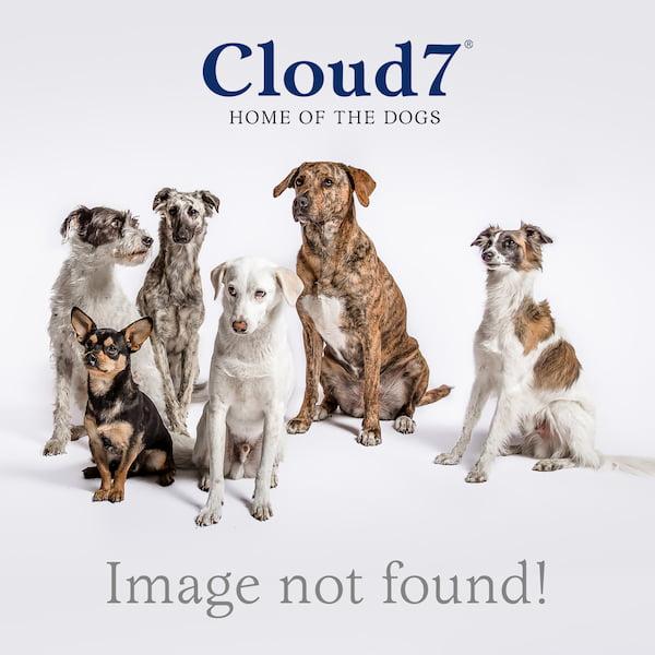 Drei Hundebetten mit Umrandung in hellgrauem Tweed-Stoff mit Lederdetails übereinandergestapelt