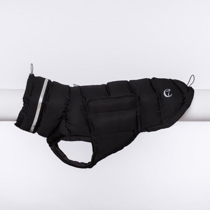 Wattierter Hundemantel in schwarz