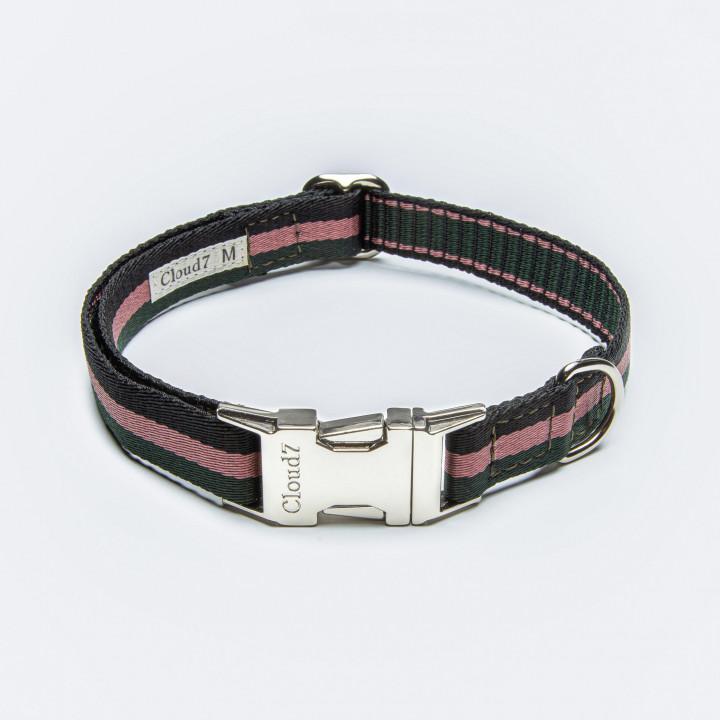 Veganes Hundehalsband mit Streifen in grün, rosa, schwarz mit Klickverschluss