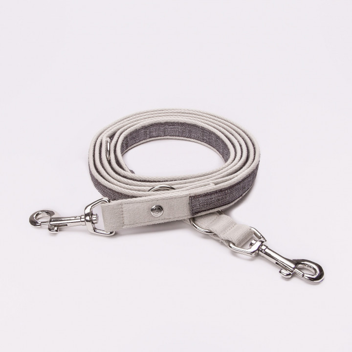 Draped cotton dog leash Coco Taupe
