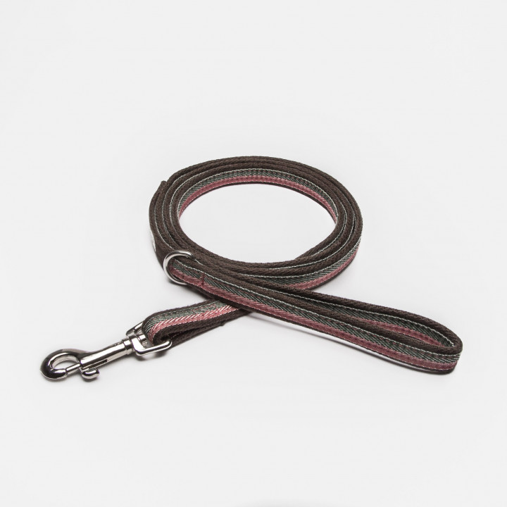 Draped fabric dog leash with stripes in pink, pink, olive and brown with hand loop