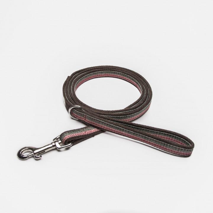 Drapierte Hundeleine aus Stoff mit Streifen in Rosa, Pink, Olive und Braun mit Handschlaufe
