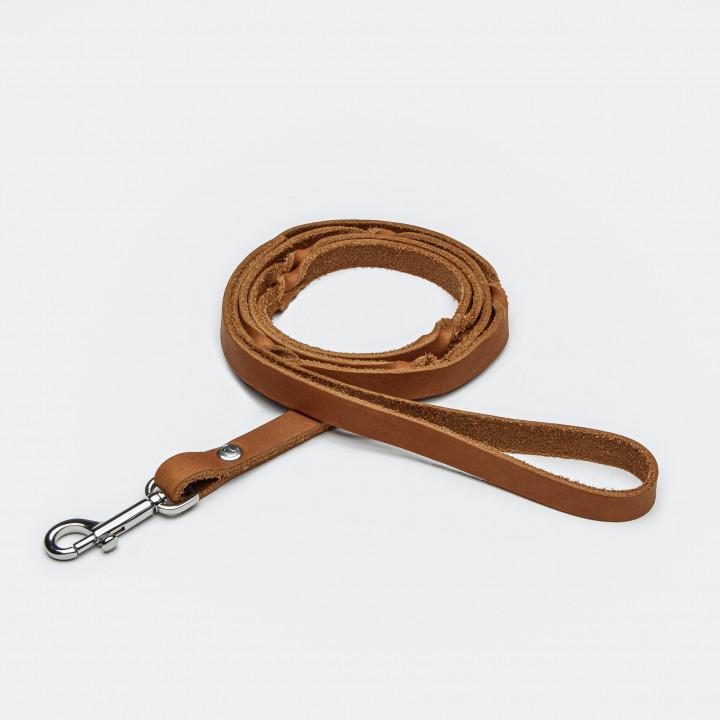 Schmale hellbraune Hundeleine mit Handschlaufe aus Leder