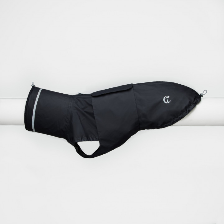 Dark Blue / Navy Dog Raincoat with reflective elements