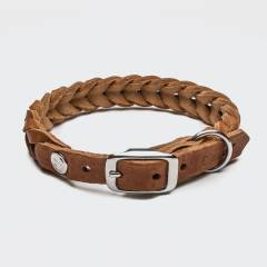 Closed light brown braided leather dog collar with silver buckle