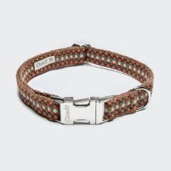 Vegan dog collar warm colours webbing