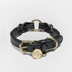 braided black leather dog collar with brass parts