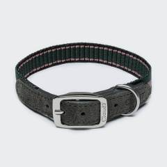 Sporty dog collar with green and pink stripes and grey suede