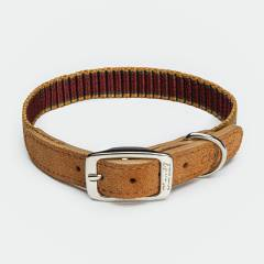 Dog collar made from webbing and velours leather with stripes in summery colours