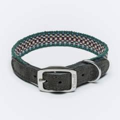 Ethno dog collar in green tones
