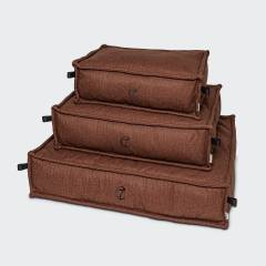 stack of 3 rust red dog pillows